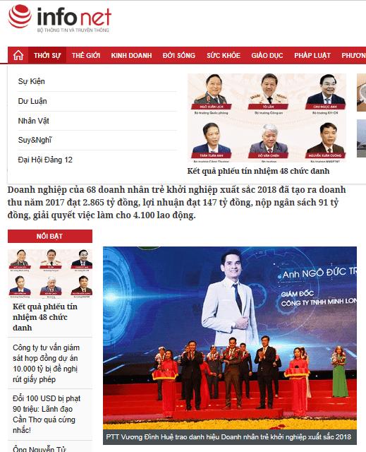 Báo infonet.vn: PTT Vương Đình Huệ trao danh hiệu Doanh nhân trẻ khởi nghiệp xuất sắc 2018