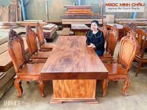 Bộ Bàn nguyên tấm từ gỗ LÁT XOAN cực đẹp, 6 ghế Cẩm Chỉ